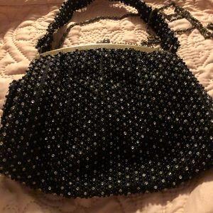 Black handbag Vintage 8x10 shoulder bag or handle